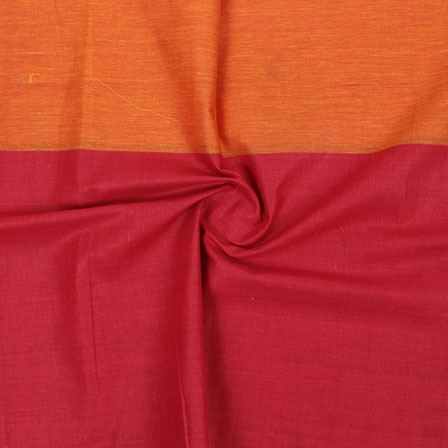 Orange Maroon Striped Handloom Khadi Cotton Fabric-40715