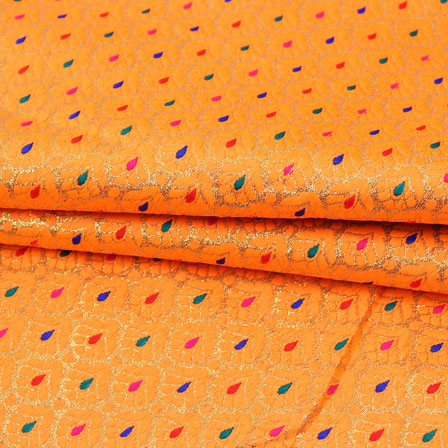 Orange Multicolor Floral Jacquard Brocade Silk Fabric-9134
