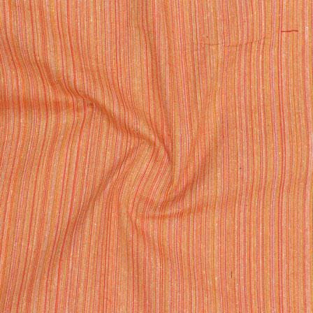 Orange Multicolor Stripes Handloom Khadi Cotton Fabric-40663