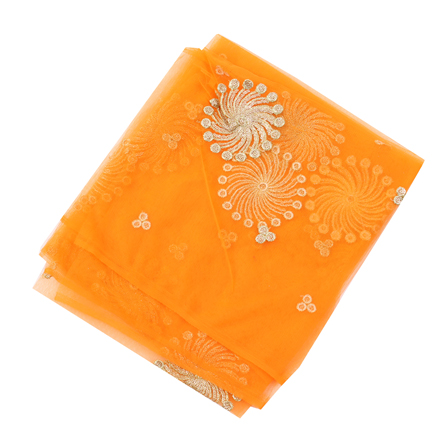 Orange Net Base Fabric With Golden Floral Embroidery -60078