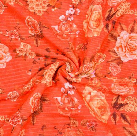 Orange Peach Floral Georgette Sequence Digital Silk Fabric-19055