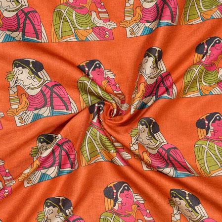 Orange Pink Bridal Print Manipuri-Silk Fabric-18011