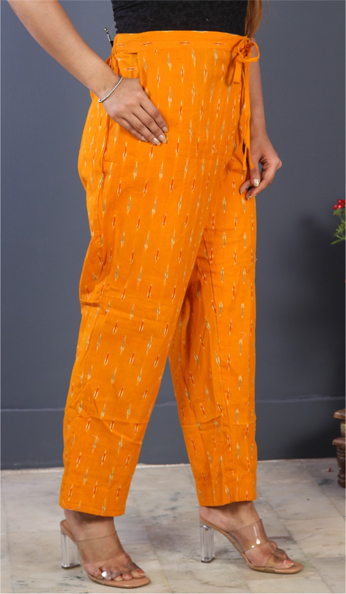 Orange Pink Cotton Ikat Ankle Women Pant-34669