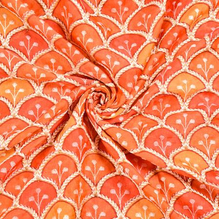 Orange Pink Digital Position Print Chinon Embroidery Fabric-19316