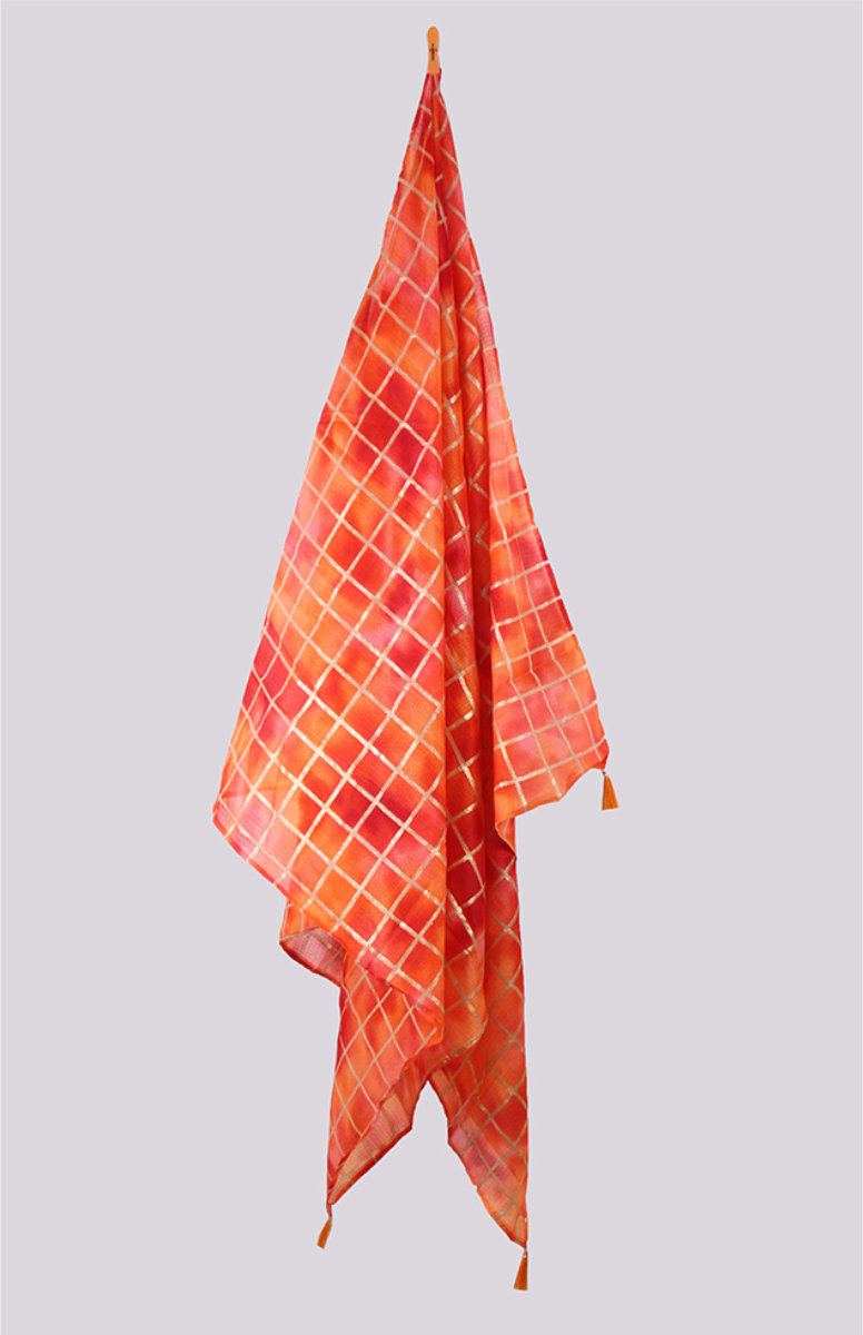 Orange Pink Digital Printed Kota Doria Dupatta with Tassel-33439