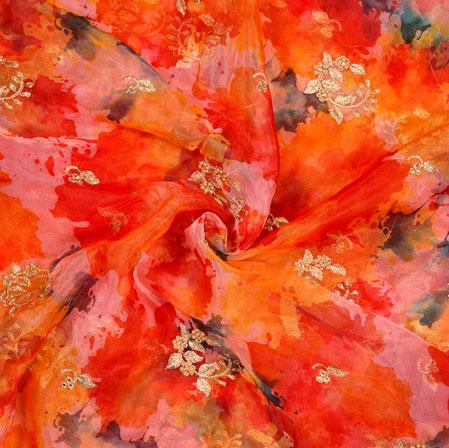 Orange Pink Floral Organza Digital Embroidery Silk Fabric-22134