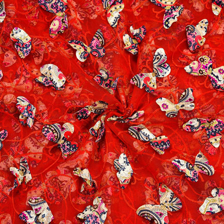 Orange Pink Net Butterfly Embroidery Fabric-18782