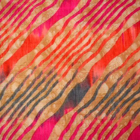 Orange-Pink and Beige Leharia Pattern Kota Doria Fabric-6008