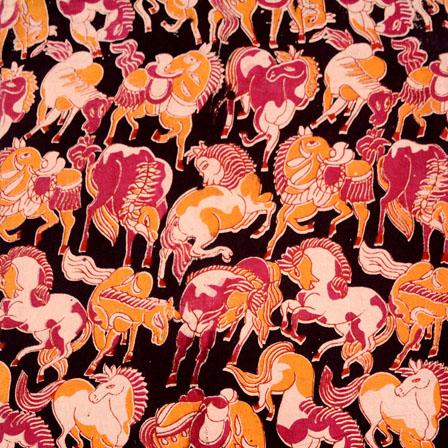 Orange-Pink and Black Horse Animal Pattern Kalamkari Fabric-5510