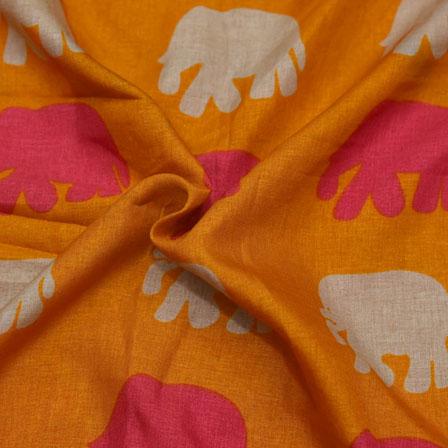 Orange-Pink and Cream Elephant Design Kalamkari Manipuri Silk-16150