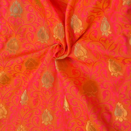 Orange-Pink and Golden Floral Pattern Soft Brocade Silk Fabric-8117