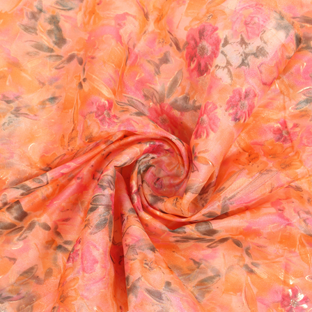Orange-Pink and Golden Flower Organza Silk Fabric -51440