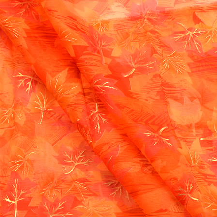 Orange-Pink and Golden Leaf Pattern Organza Silk Fabric-50009