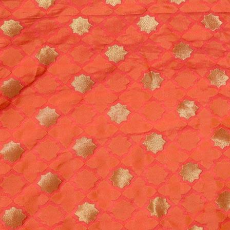 Orange-Pink and Golden Star Pattern Chiffon Indian Fabric-4374
