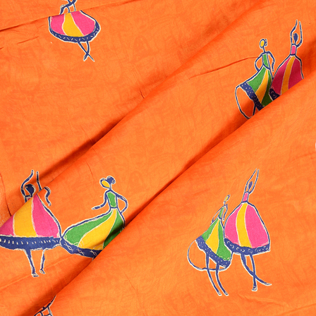 Orange-Pink and Green Dancing Mudra Jam Cotton Silk Fabric-75157