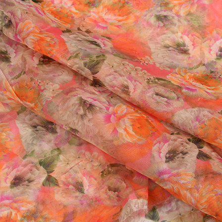 Orange-Pink and Green Floral Organza Silk Fabric-51081