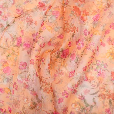 Orange-Pink and Green Flower Design Silk Organza Fabric-51037