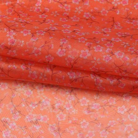 Orange Pink and White Digital Organza Silk Fabric-51728