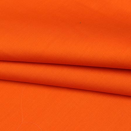 Orange Plain Cotton Silk Fabric-16451