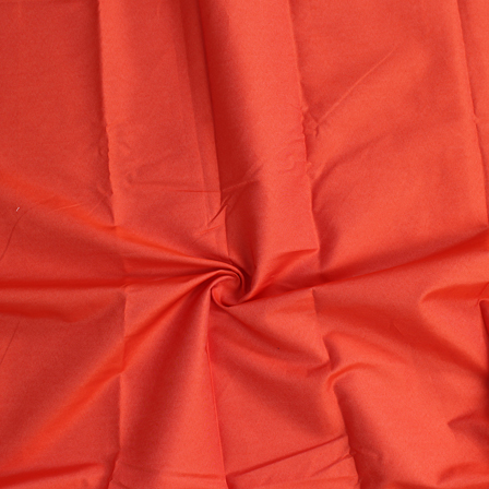 Orange Plain Poly Denim Handloom Cotton Fabric-40108