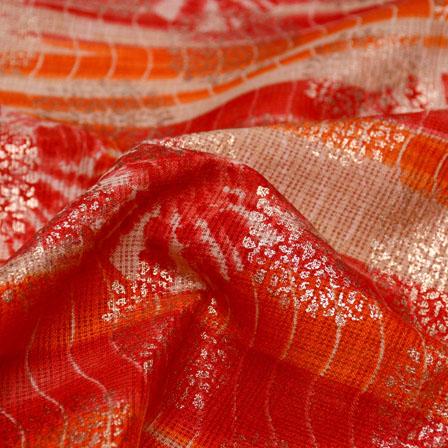 Orange-Red and Beige Flower Design Kota Doria Fabric-6043
