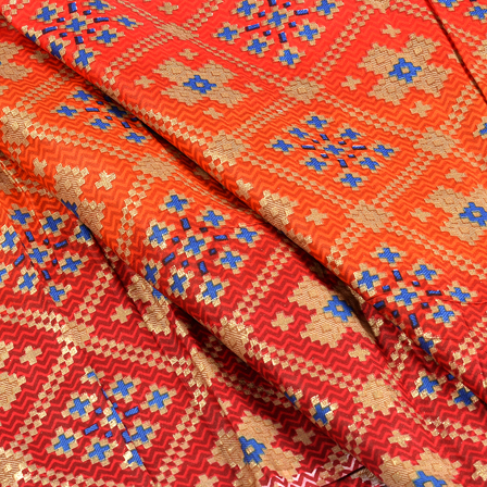 Orange-Red and Golden Jam Cotton Silk Fabric-75155