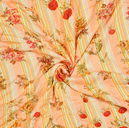 Orange Red and Green Floral Cotton Flex Fabric-28175