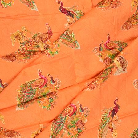 Orange-Red and Green Peacock Design Jam Cotton Silk Fabric-75044