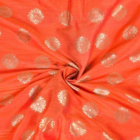 Orange Silver Brocade Silk Floral Fabric-12975