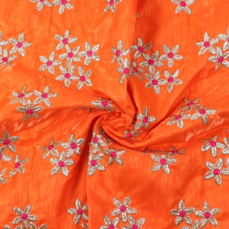 Orange-Silver and Pink Floral Design Silk Embroidery Fabric-60221