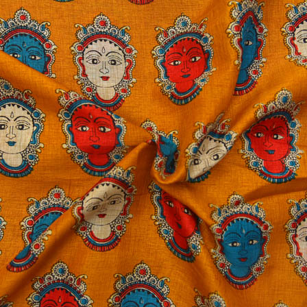 Orange-Sky Blue and Cream Durga Devi Pattern Kalamkari Manipuri Silk-16051