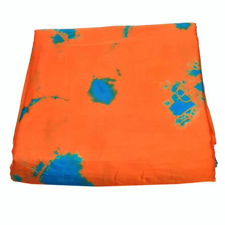Orange-Sky Blue and Green Batik Satin Fabric-32001