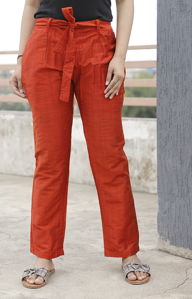 Orange South Cotton Plain Narrow Pant with Belt-33890
