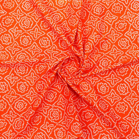 Orange White Block Print Cotton Fabric-14874