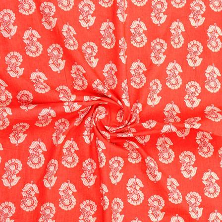 Orange White Block Print Cotton Fabric-14881
