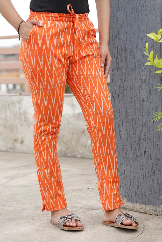 Orange White Cotton Ikat zig zag Narrow Pant-33869