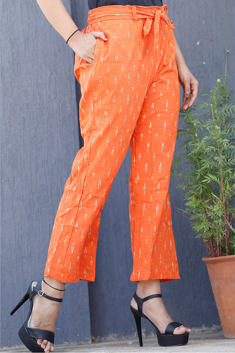 Orange White Cotton Ikat zig zag Narrow Pant-34027