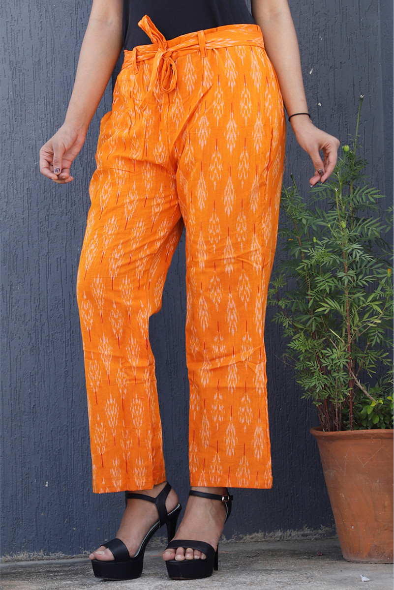 Orange White Cotton Ikat zig zag Narrow Pant-34034