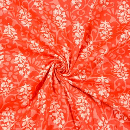 Orange White Floral Block Print Cotton Fabric-28512