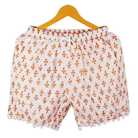 Orange White Flower Cotton Block Print Short-14659