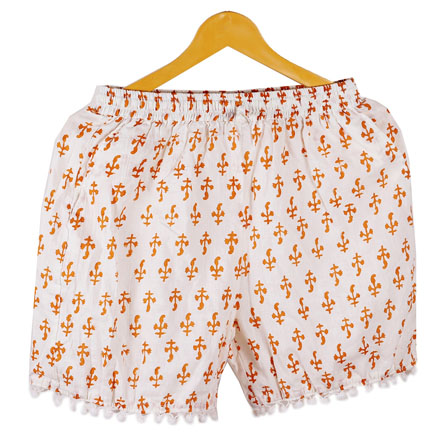 Orange White Flower Cotton Block Print Short-14666