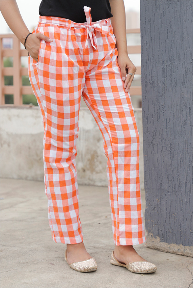 Orange White Handloom Cotton Checks Narrow Pant with Belt-33900