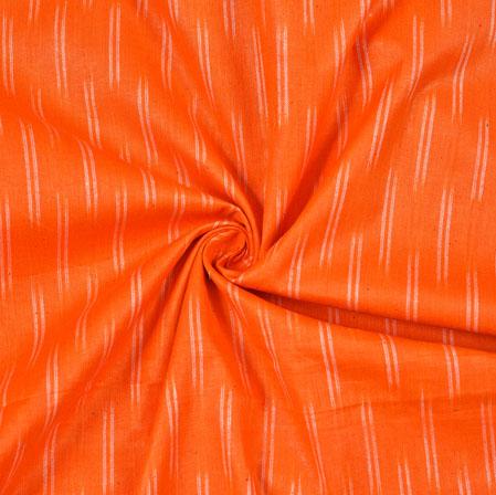 Orange White Ikat Cotton Fabric-11091