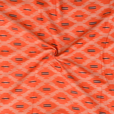 Orange White Ikat Print Glazed Cotton Fabric-15203