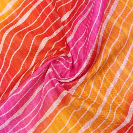Orange White Leheriya Kota Doria Fabric-25144