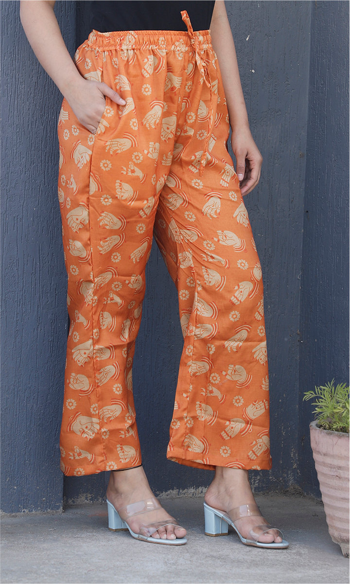 Orange White Manipuri Silk Handmudra Palazzo Pant-34494
