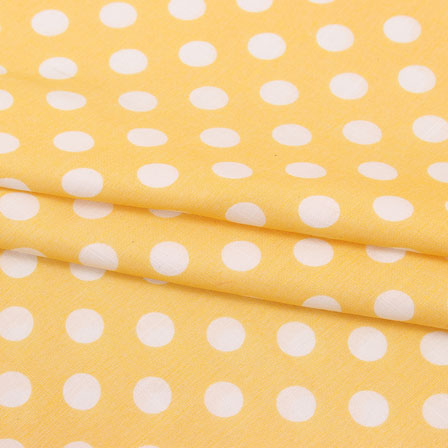 Orange White Polka Print Rayon Fabric-15277