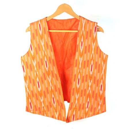 Orange White Sleeveless Ikat Cotton koti jacket-12252