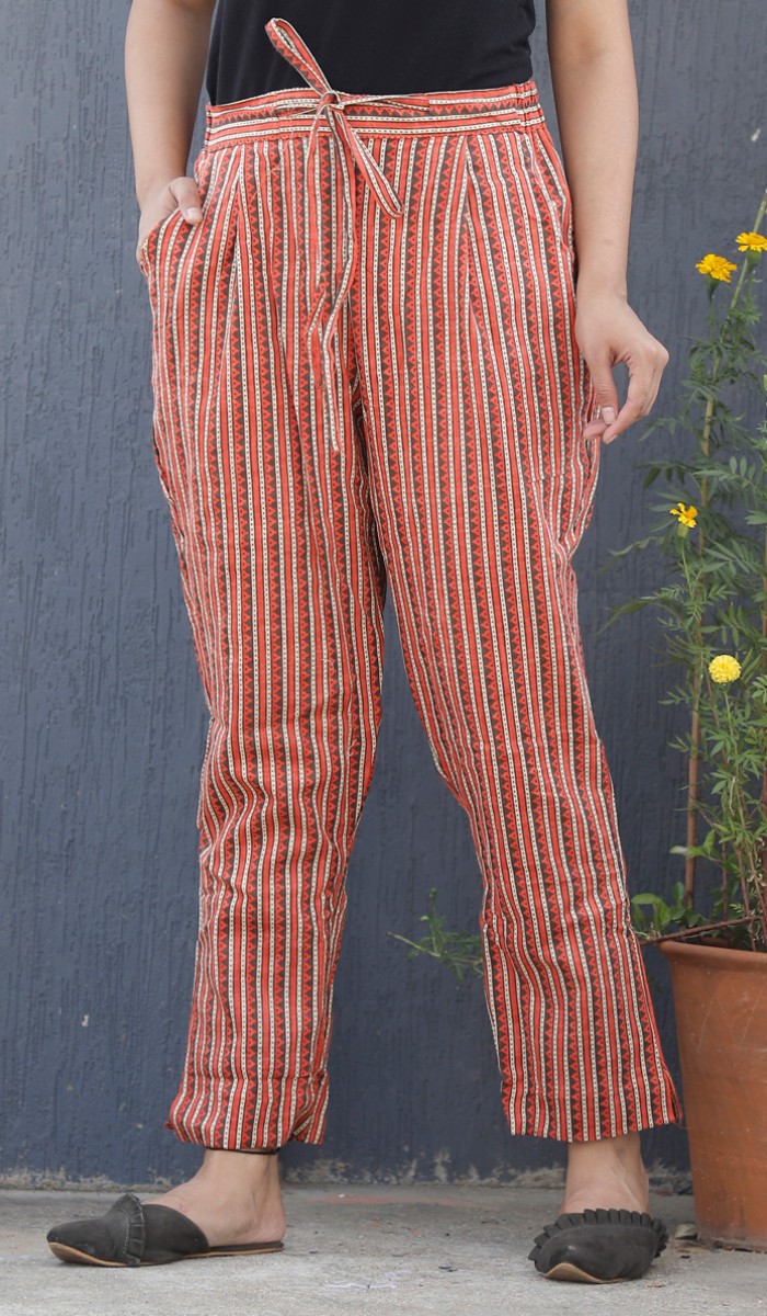 Orange White Stripe Block Print Cotton Pant-34102