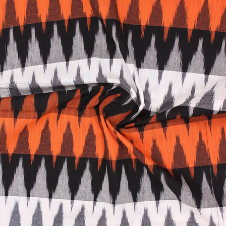 Orange White and Black 3D Ikat Cotton Fabric-12326